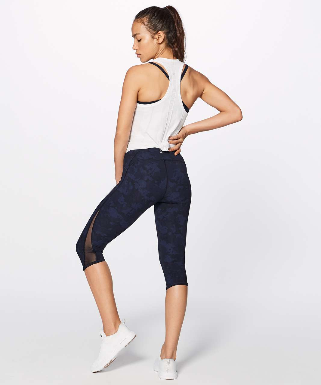 "Lululemon Train Times Crop (17"") - Camouflaged Midnight Navy Black / Black"