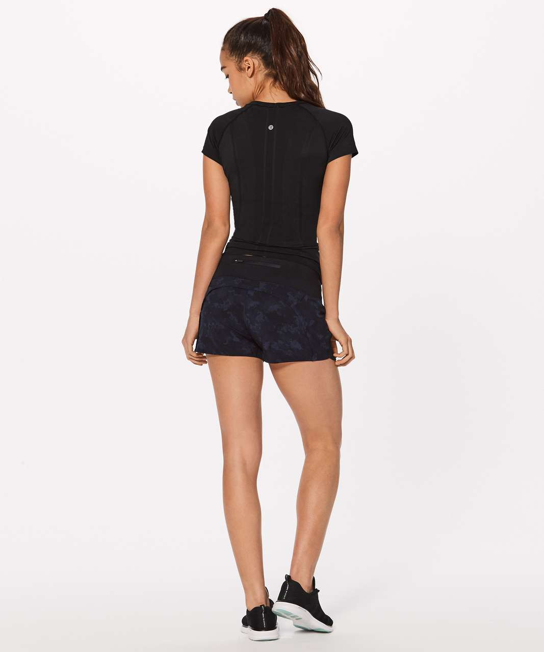"Lululemon Run Times Short II*4"" - Camouflaged Midnight Navy Black / Black"