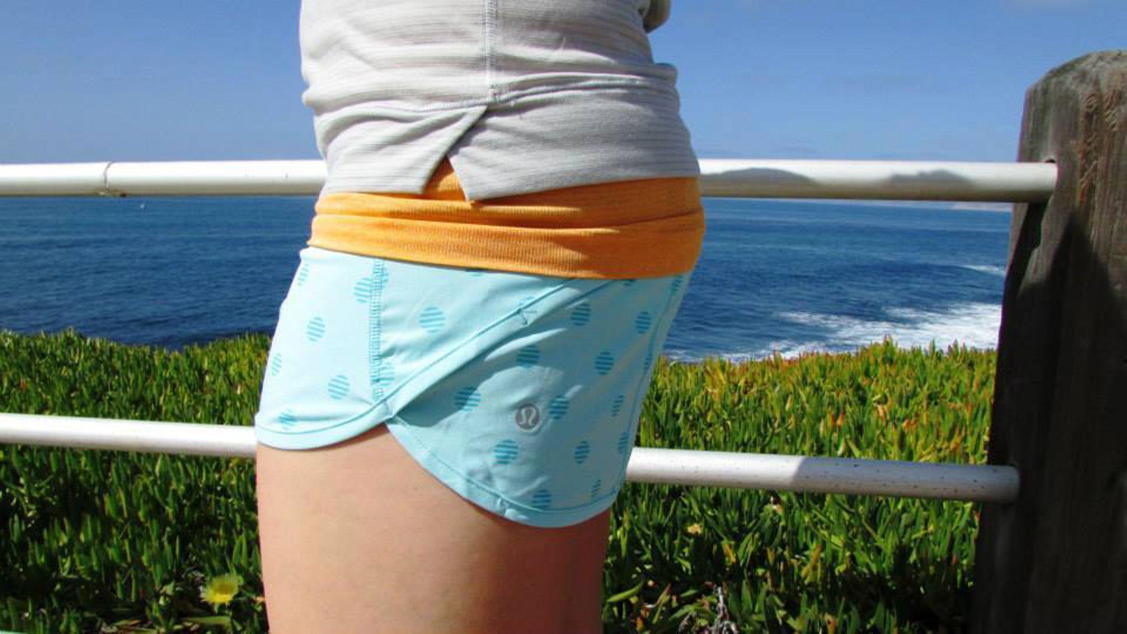 Lululemon Run:  Speed Short *4-way Stretch - Stripe Dot Printed Angel Blue / Angel Blue