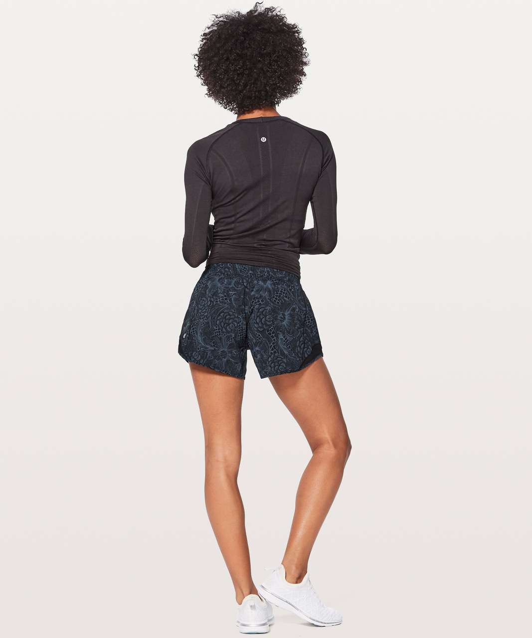 "Lululemon Hotty Hot Short II (Long 4"") - Nouveau Mach Blue Black / Black"