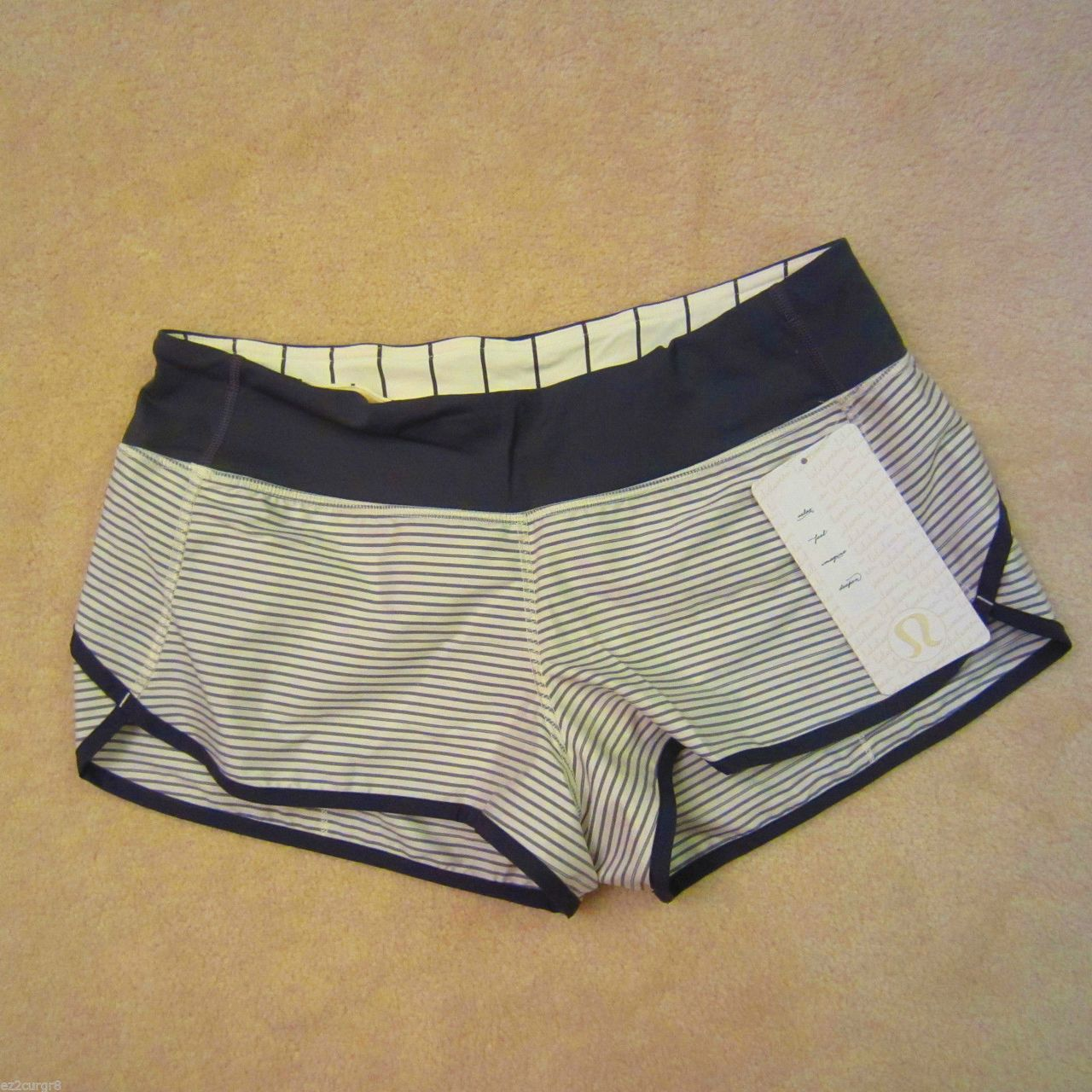 Lululemon Run:  Speed Short - Hyper Stripe Reflective Angel Wing / Soot Light