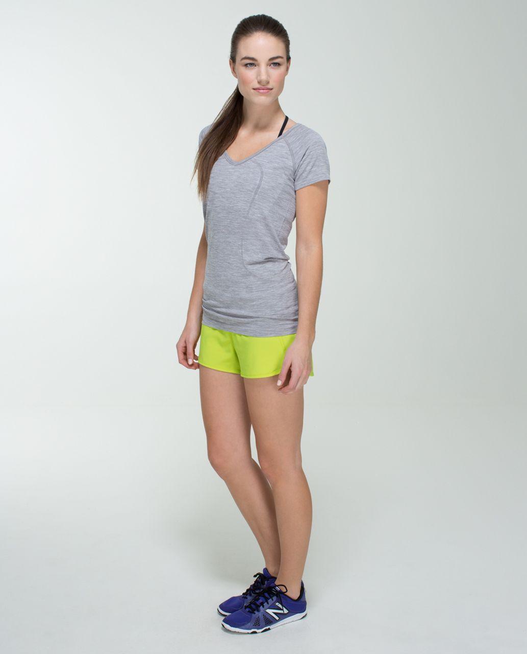 Lululemon Run:  Speed Short *4-way Stretch - Antidote / Tonka Stripe Clear Mint White