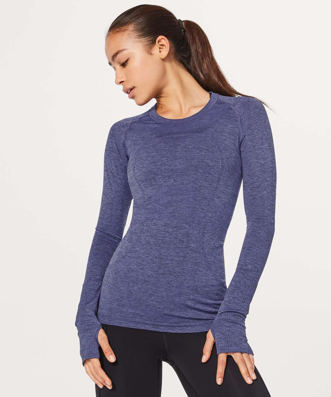 Lululemon Swiftly Tech Long Sleeve Crew - Stony Grape / Black