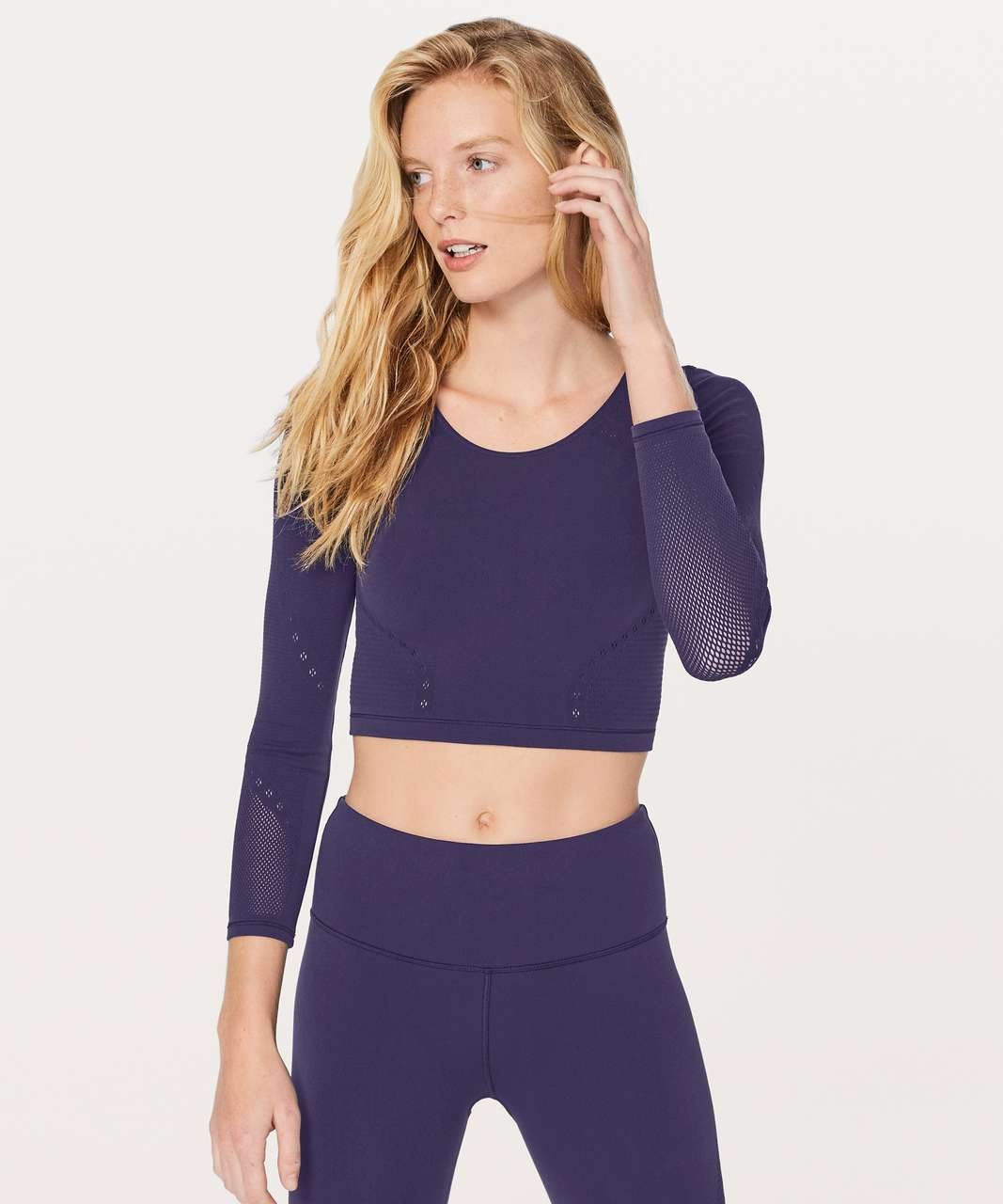 43894f90912e Lululemon Reveal Long Sleeve Crop Top *Posy - Aeon - lulu fanatics