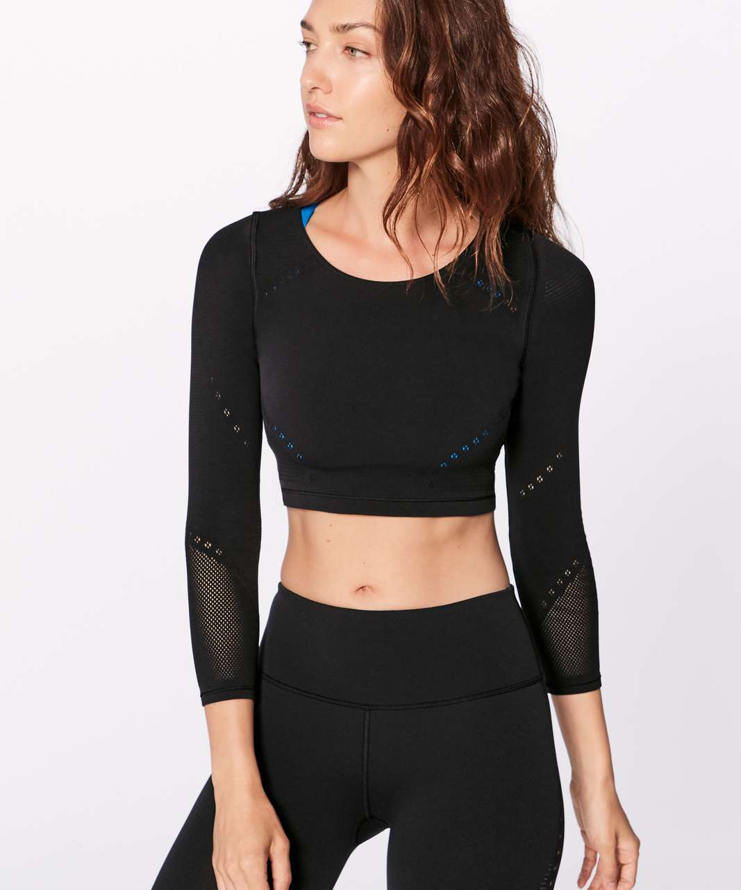 Lululemon Reveal Long Sleeve Crop Top (Posy) - Black - lulu fanatics b1ec701885f9