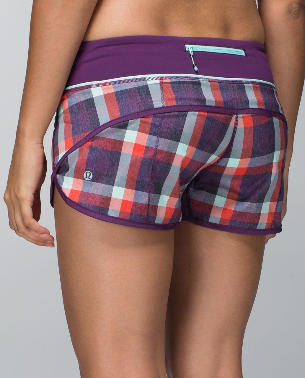 Lululemon Run:  Speed Short *2-way Stretch - Wheezy Check Multi Heathered Berry Yum Yum / Berry Yum Yum