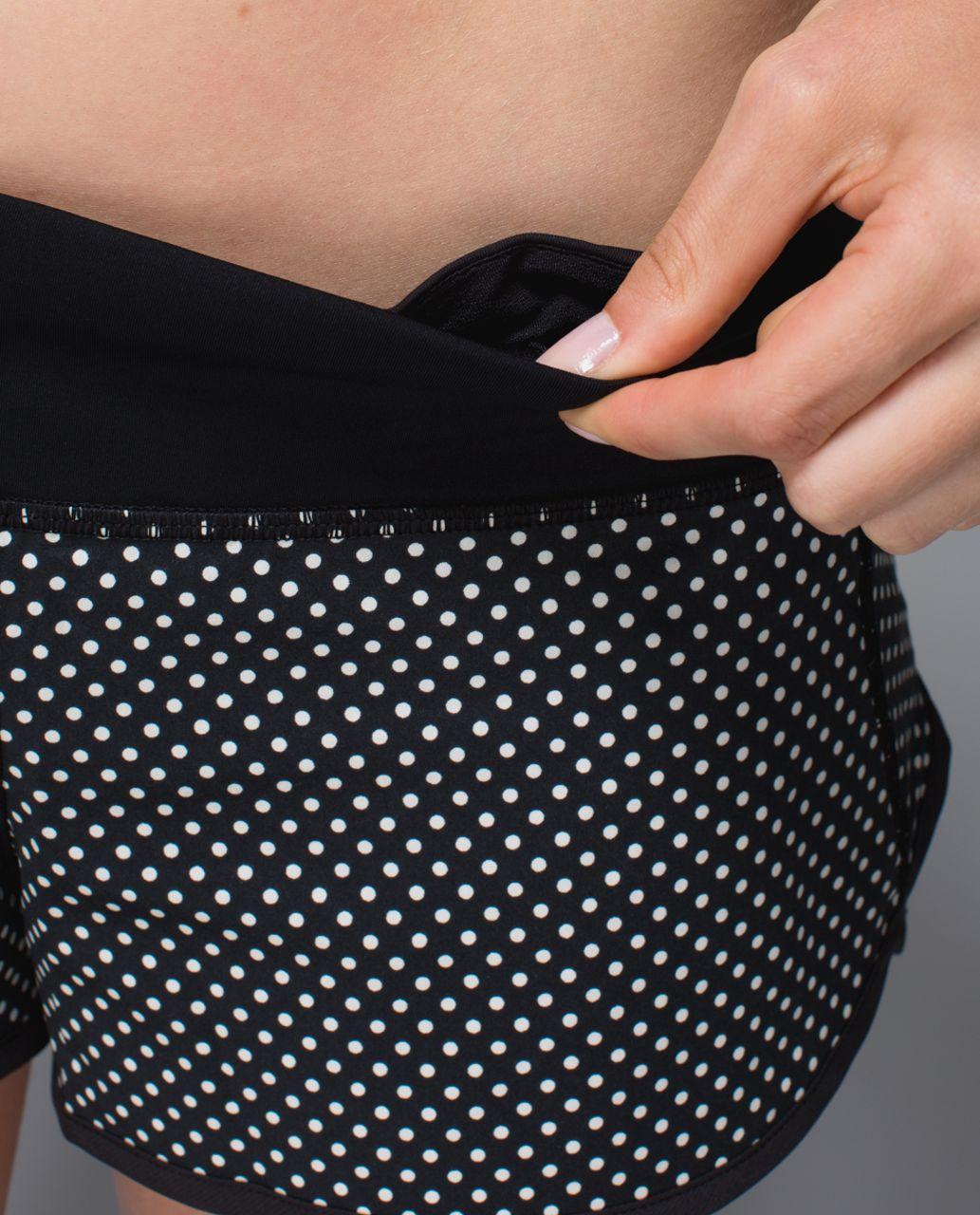 Lululemon Run:  Speed Short *2-way Stretch - Biggy Dot Printed Black Ghost / Black
