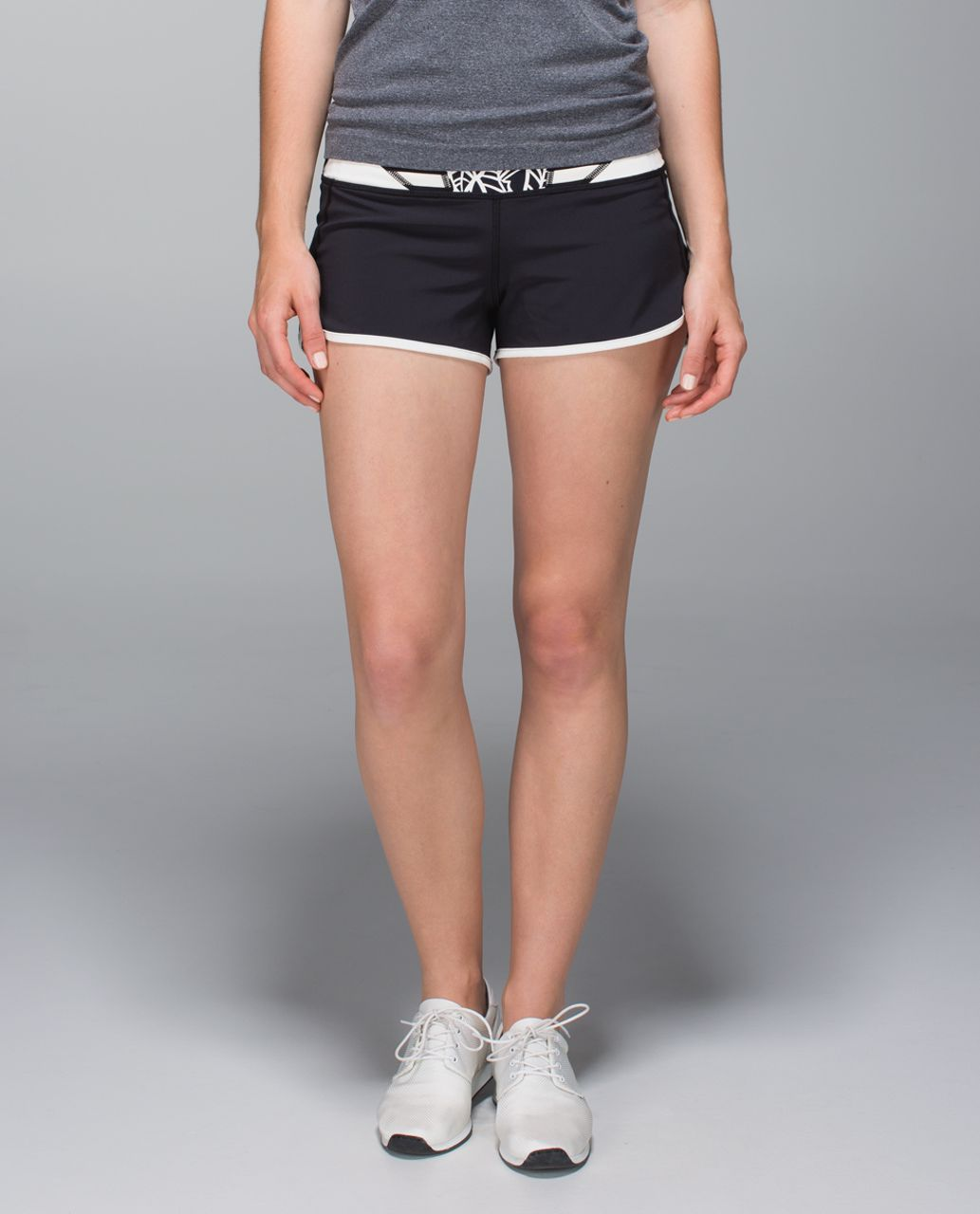 Lululemon Run:  Speed Short *4-way Stretch - Black / Angel Wing / Su14 Quilt 35