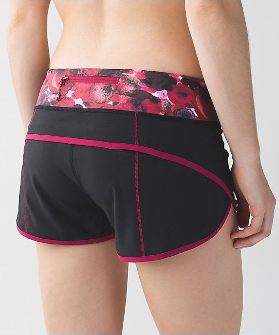 Lululemon Speed Short - Black (Poppy Petals Berry Rumble Multi Waistband/Berry Rumble Trim)