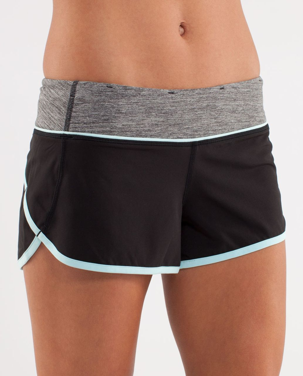 Lululemon Run:  Speed Short - Black / Aquamarine