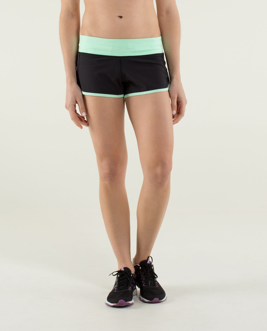 Lululemon Run:  Speed Short *4-way Stretch - Black / Fresh Teal