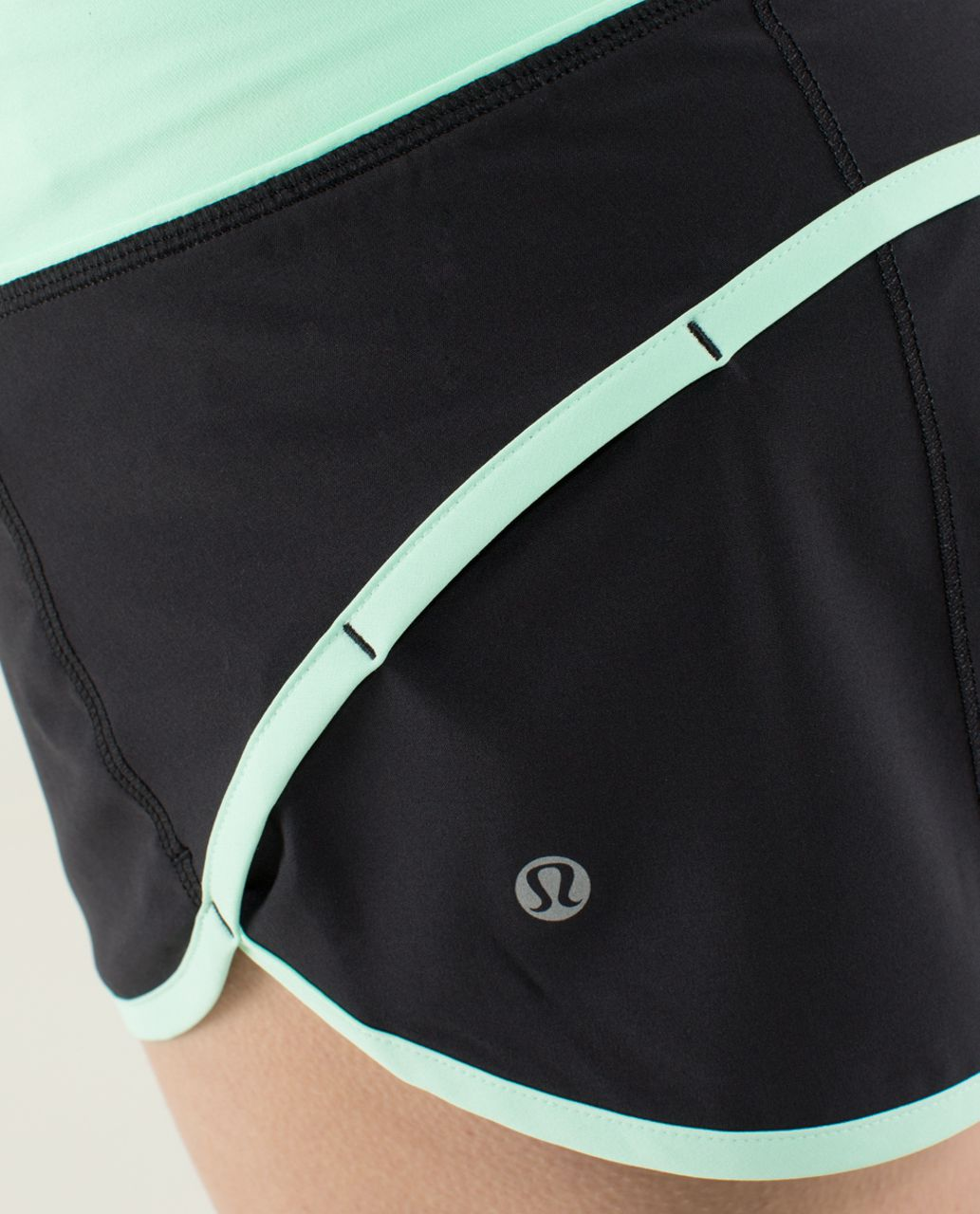 Lululemon Run:  Speed Short *4-way Stretch - Black / Fresh Teal