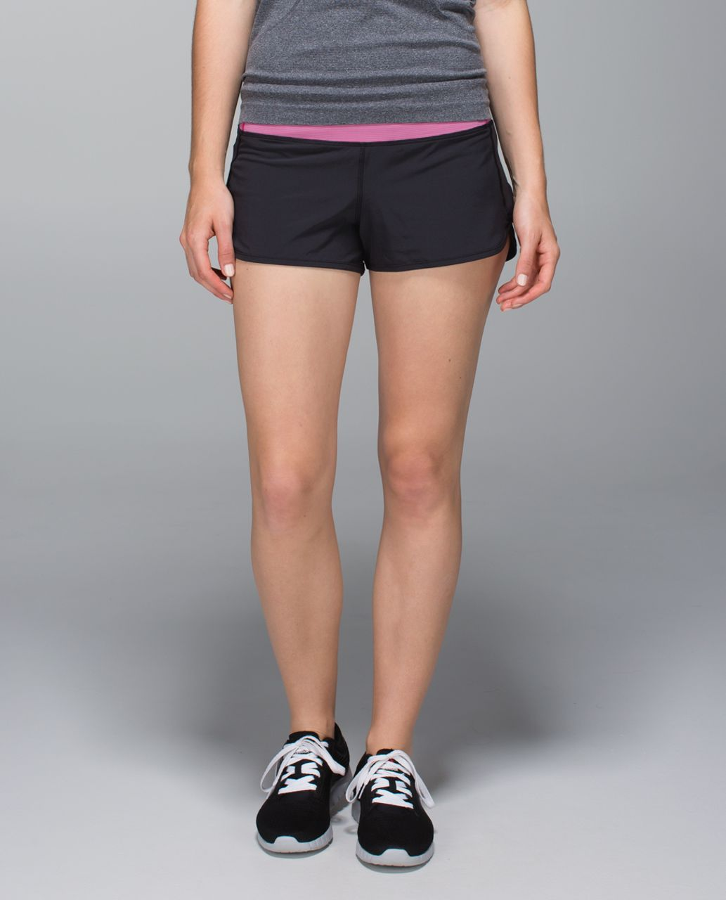 Lululemon Run:  Speed Short *4-way Stretch - Black / Wee Stripe Jewelled Magenta