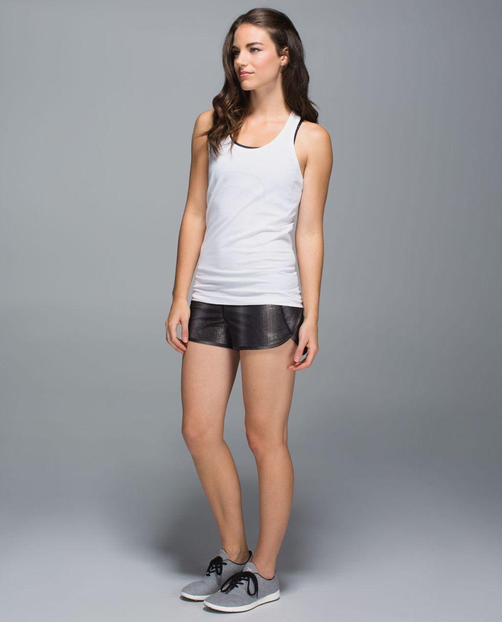 Lululemon Run:  Speed Short *2-way Stretch - Sparkle Swift Black Gunmetal / Black