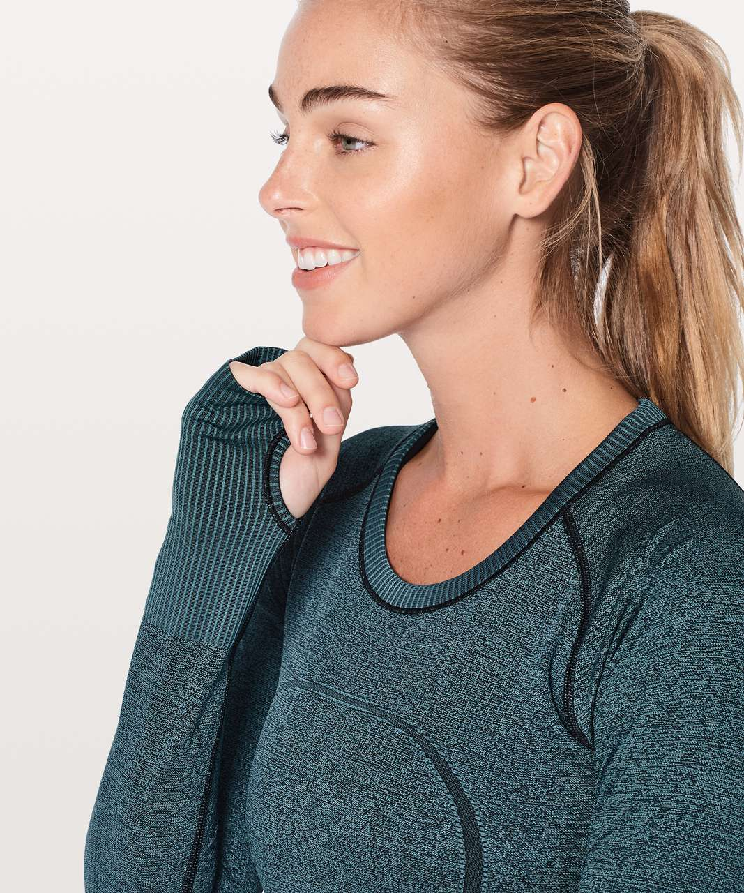 Lululemon Swiftly Tech Long Sleeve Crew - Black / Desert Teal
