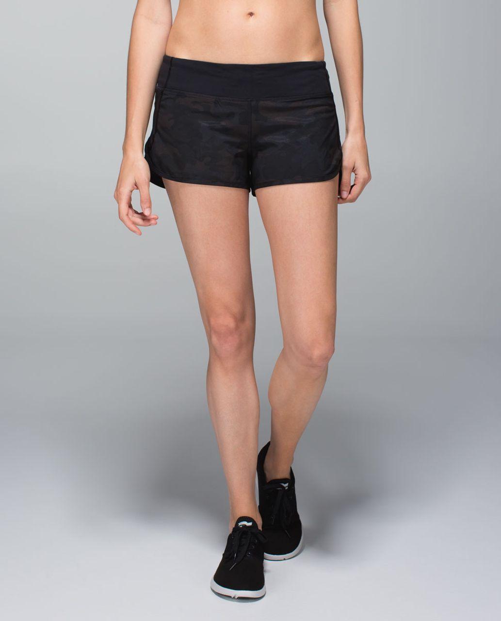 Lululemon Run:  Speed Short *4-way Stretch - Savasana Camo 20cm New Black / Black