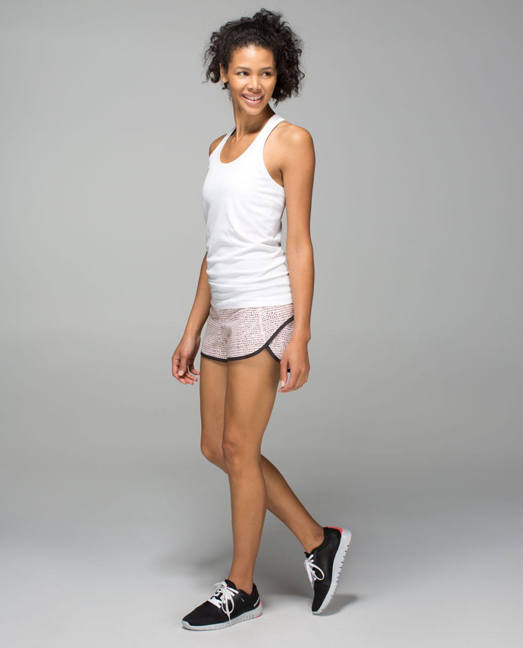 Lululemon Run:  Speed Short *4-way Stretch - Speckle Dot Parfait Pink Black / Black