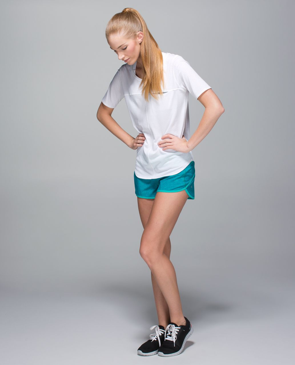 Lululemon Run:  Speed Short *4-way Stretch - Heathered Texture Printed Sea Mist Blue Tropics / Blue Tropics