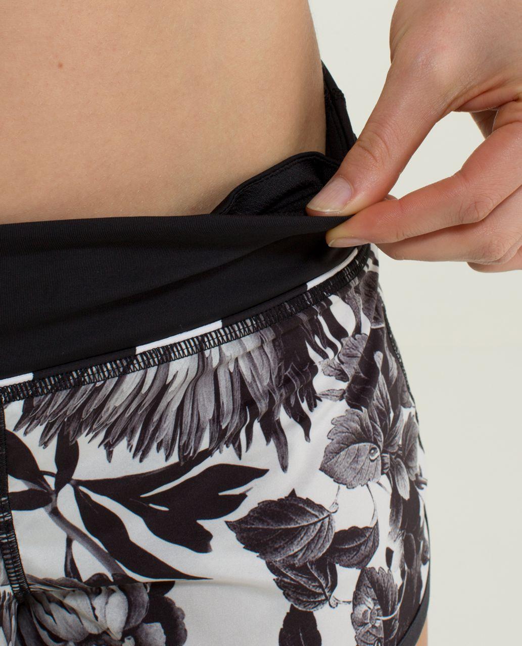 Lululemon Run:  Speed Short *2-way Stretch - Brisk Bloom Black White / Black