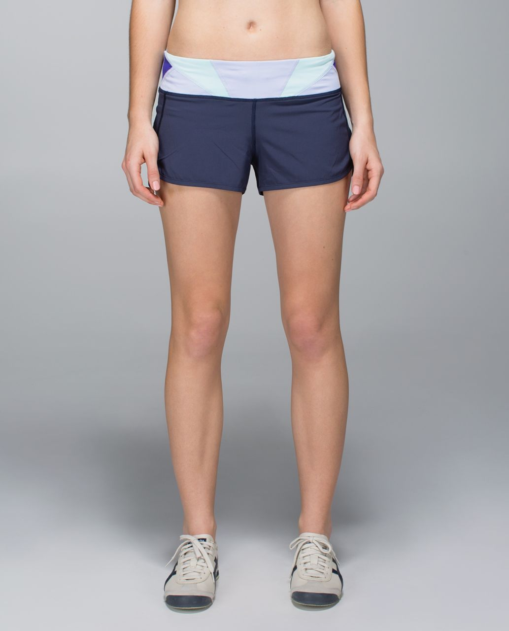 Lululemon Run:  Speed Short *4-way Stretch - Cadet Blue / Su14 Quilt 28