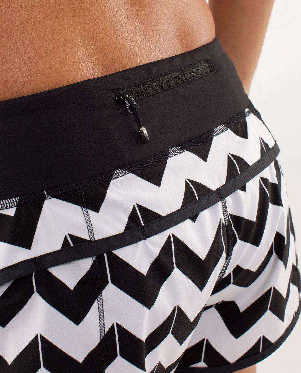 Lululemon Run:  Speed Short - Arrow Chevron White Black