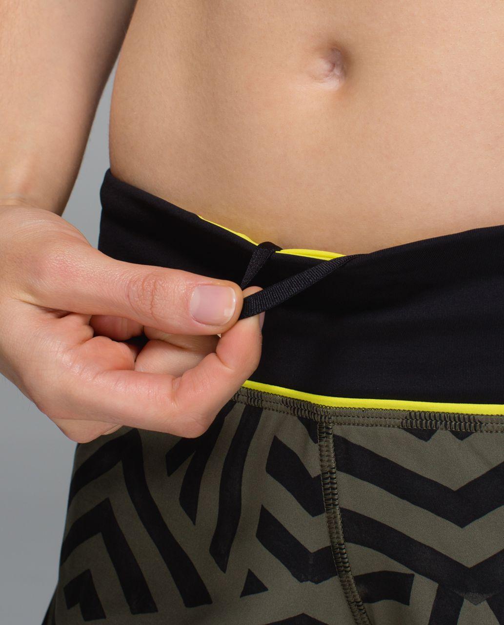 Lululemon Run:  Speed Short *4-way Stretch - Chevron Shuffle Fatigue Green Black / Split Pea / Black