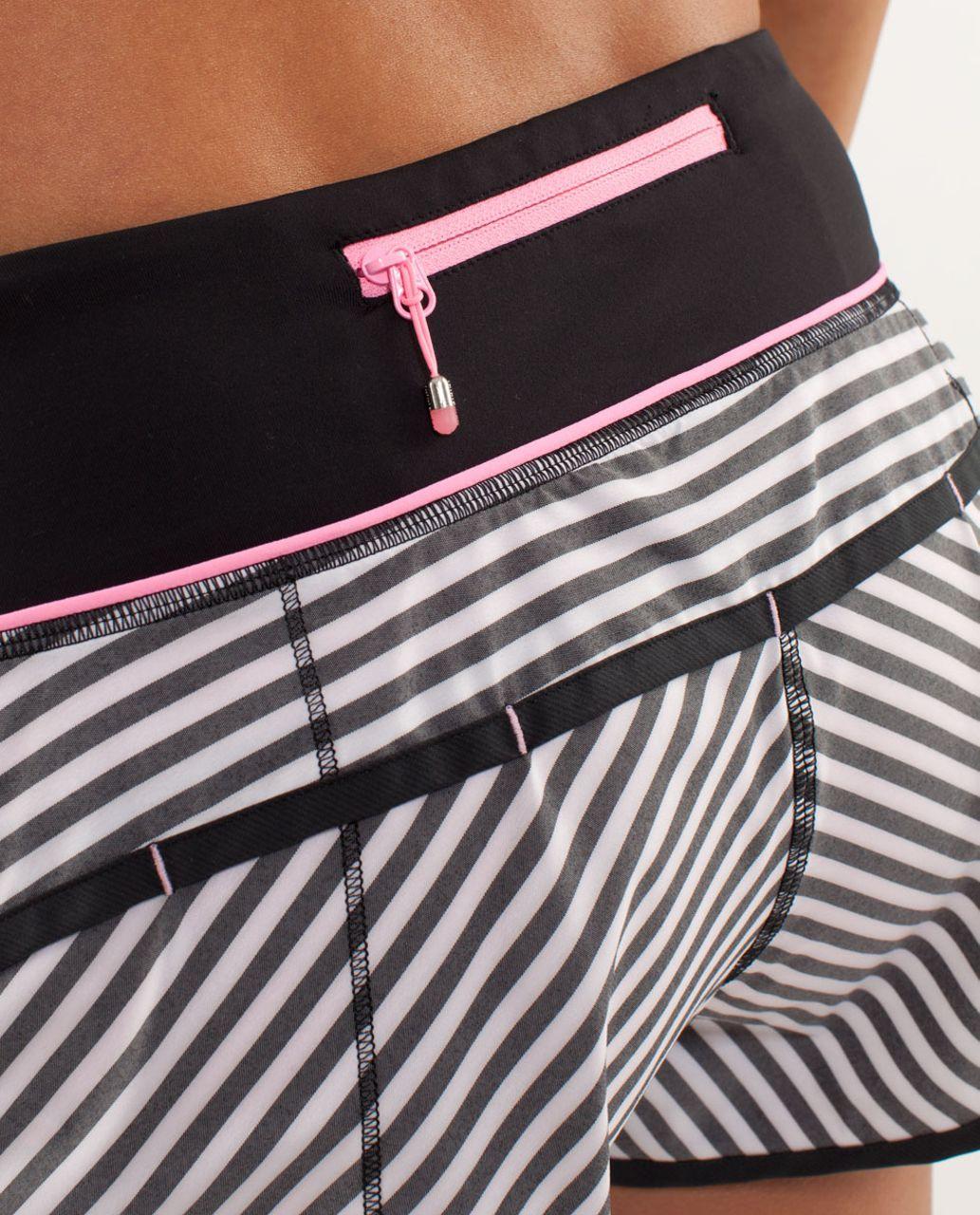 Lululemon Run:  Speed Short - Classic Stripe Black White / Black