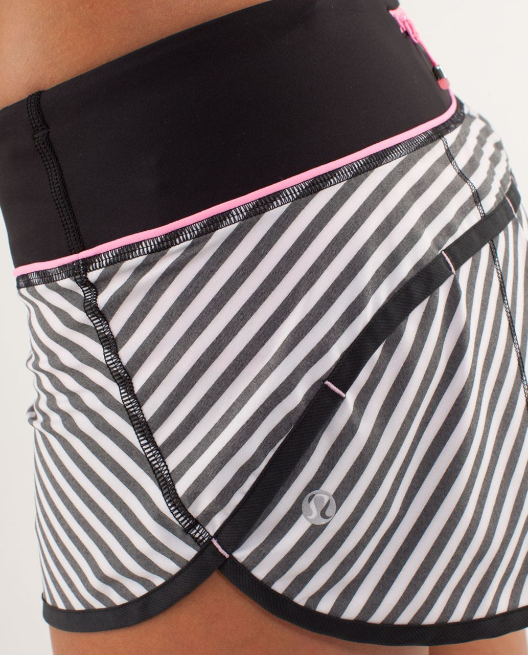 Lululemon Run:  Speed Short - Classic Stripe Black White / Black
