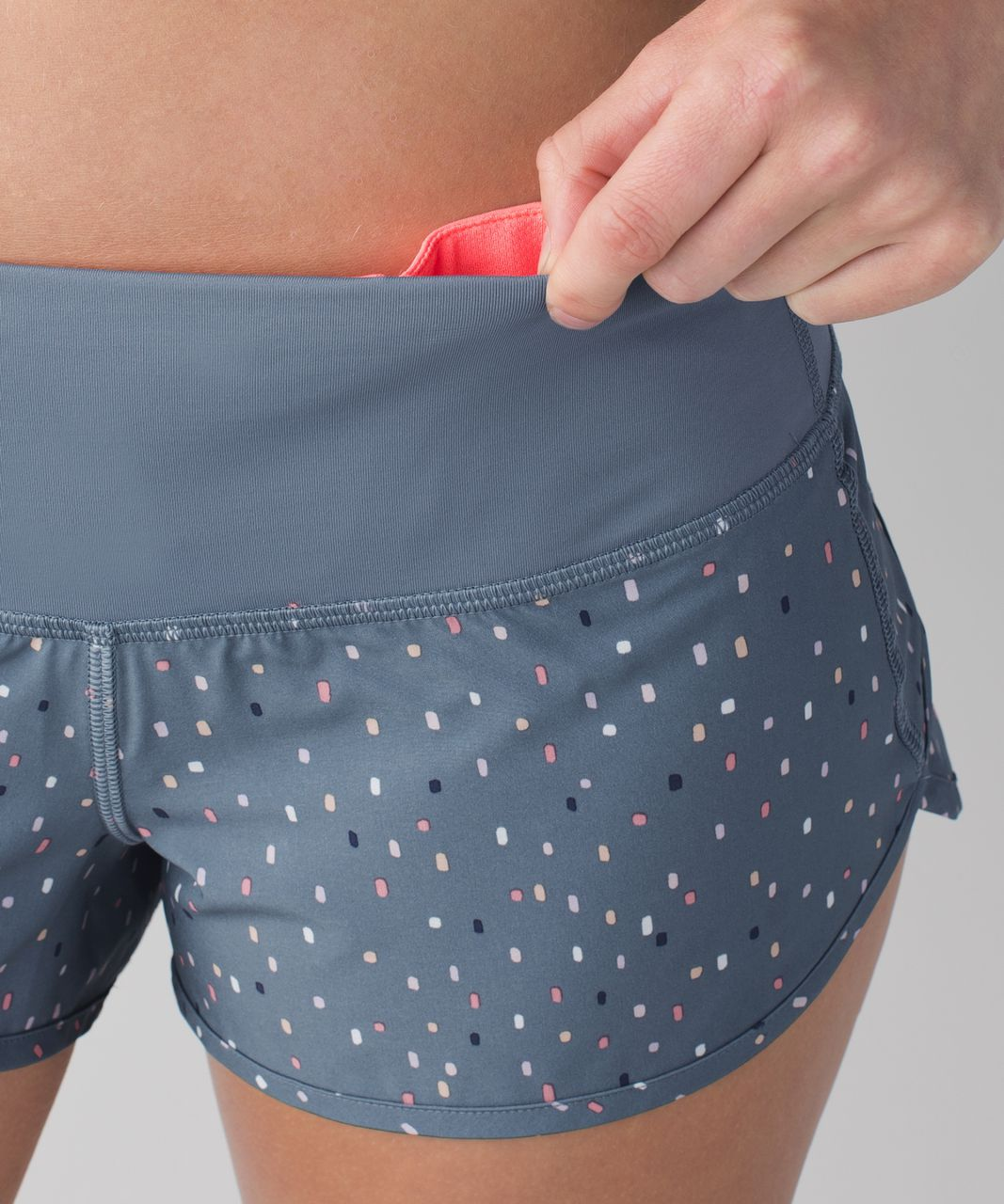 Lululemon Run:  Speed Short *Block-It Pocket - Confetti Cake Multi / Blue Denim