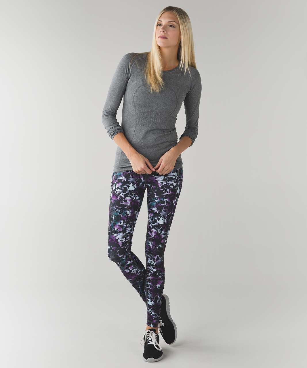 Lululemon Speed Tight IV - Biggie Fleur Sombre Caspian Blue Black