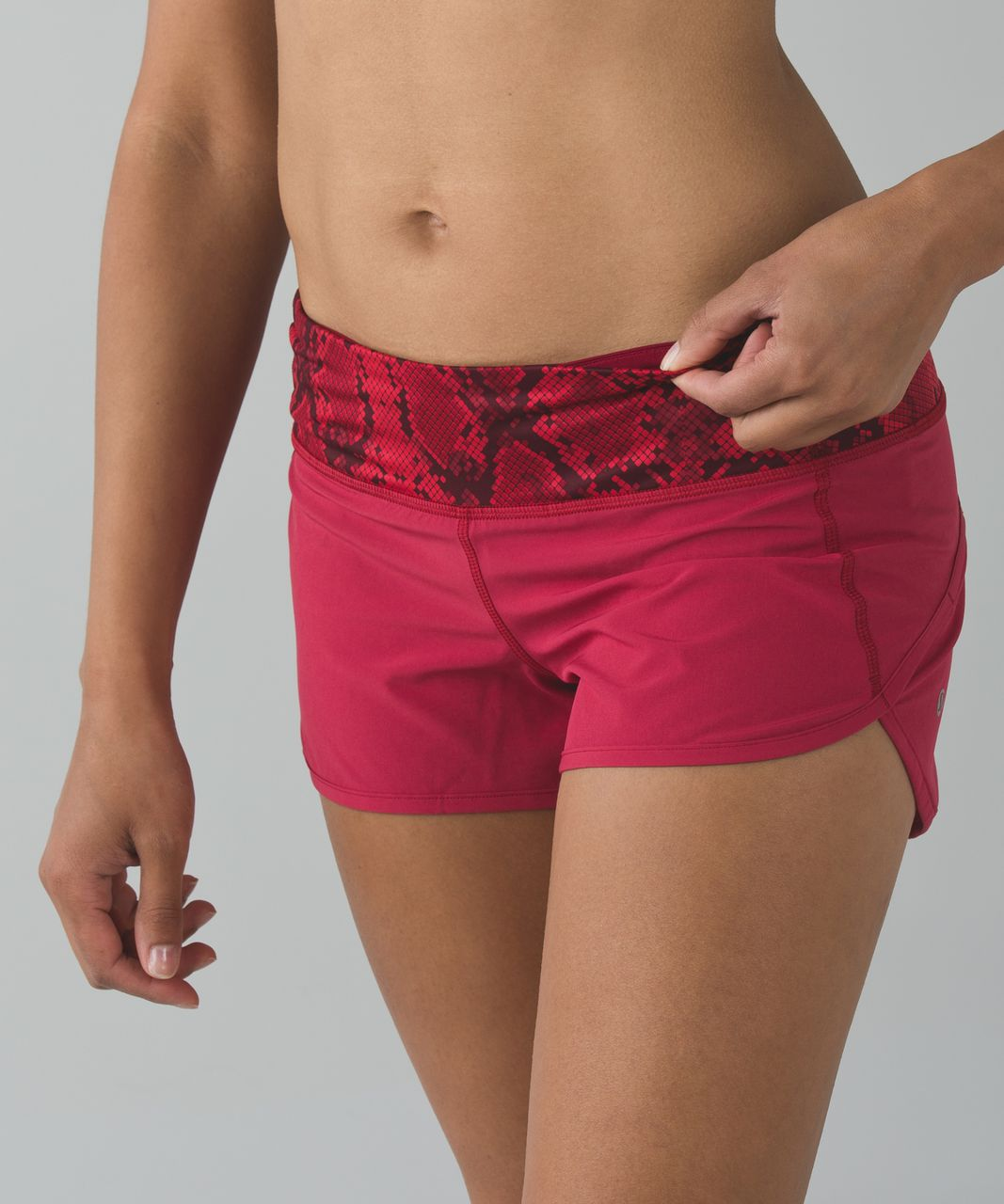 Lululemon Run:  Speed Short *4-way Stretch - Cranberry / Mini Ziggy Snake Red Tide Cranberry