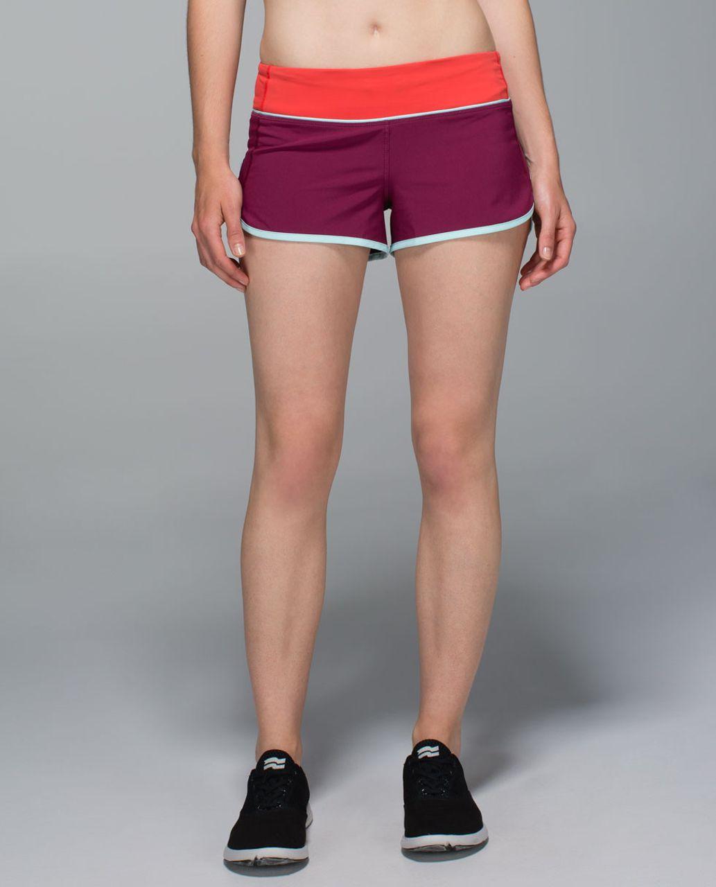 Lululemon Run:  Speed Short *4-way Stretch - Dashing Purple / Alarming / Tranquil Blue