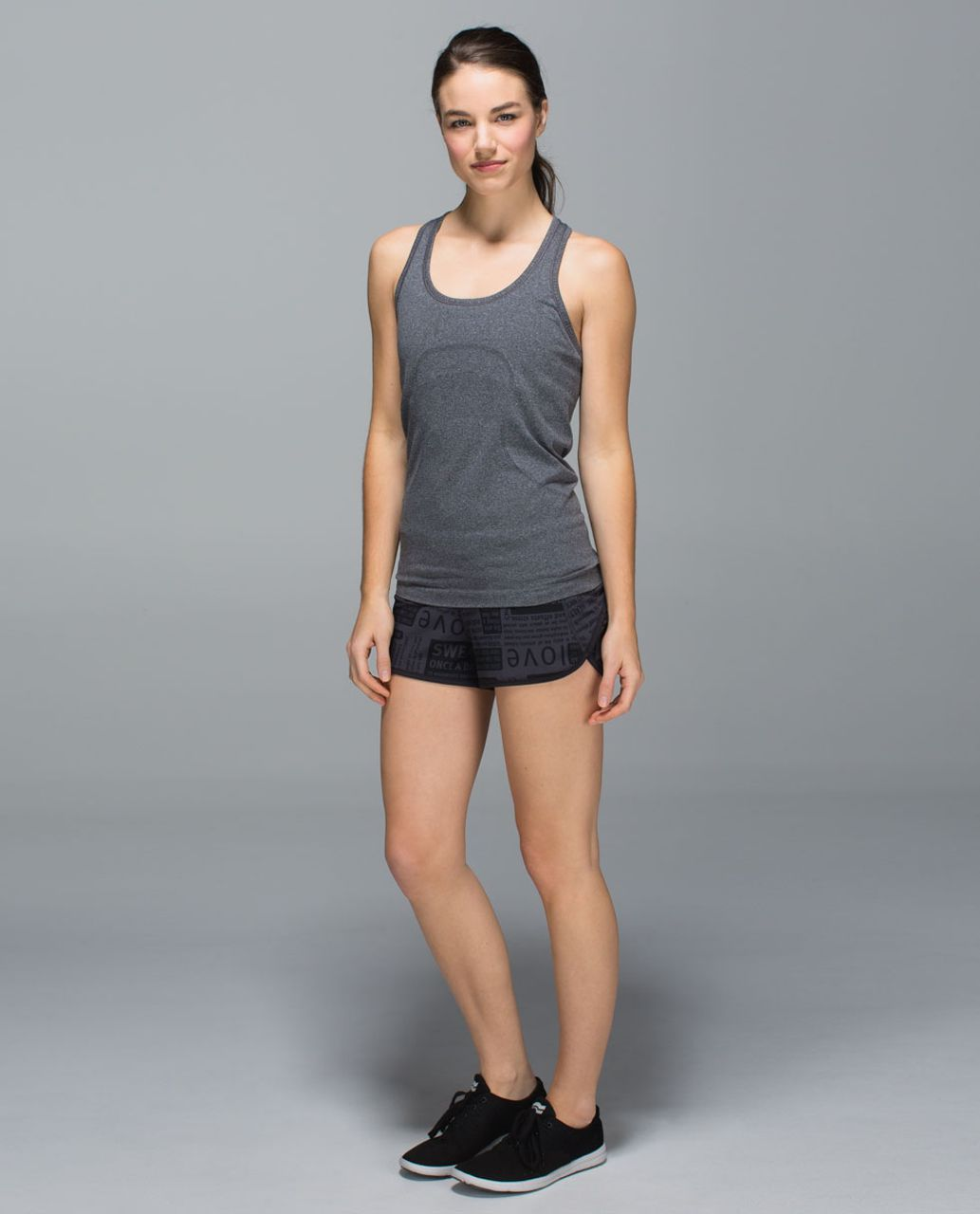 Lululemon Run:  Speed Short *4-way Stretch - Classic Manifesto Deep Coal Black / Black