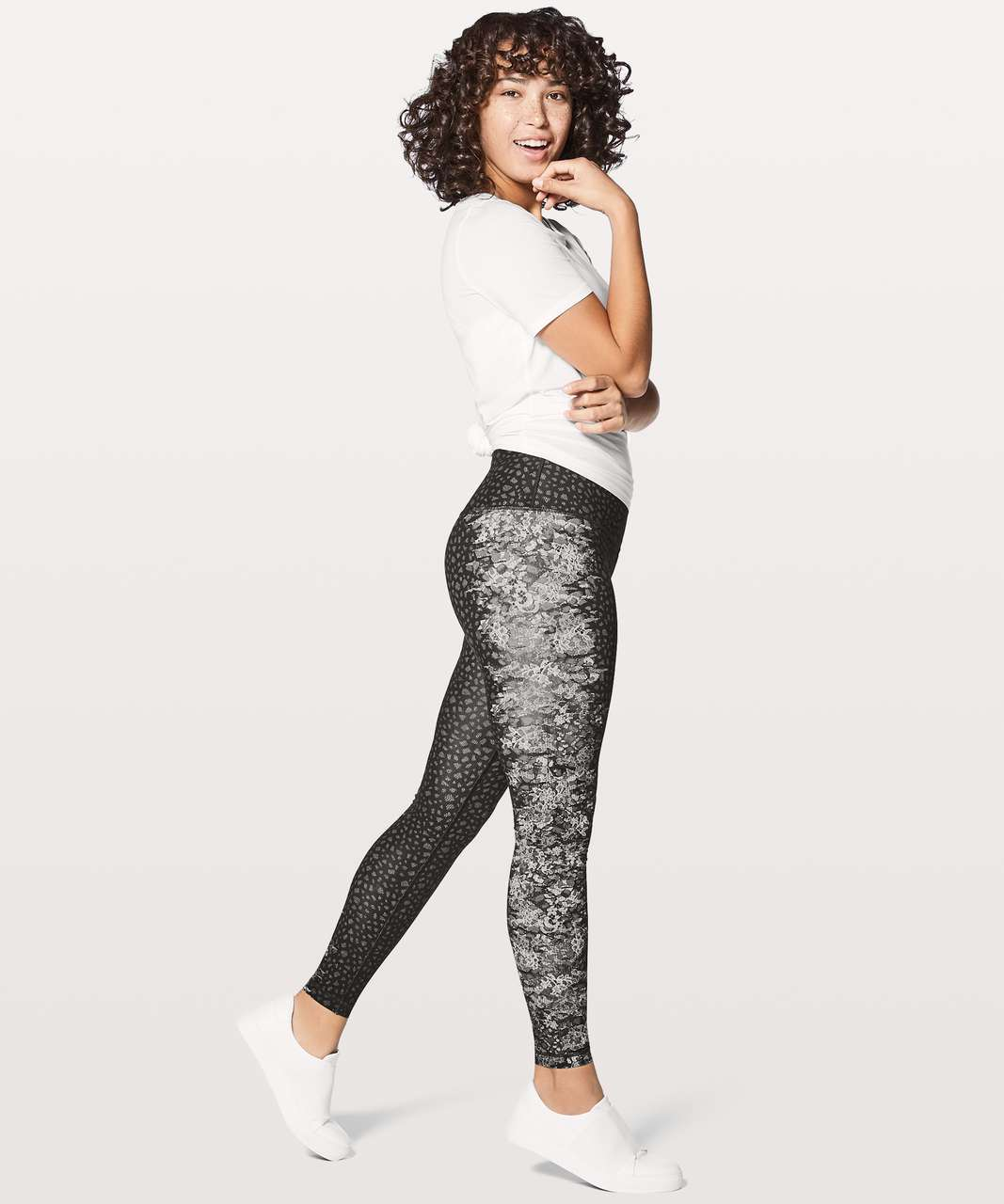 "Lululemon Wunder Under Hi-Rise Tight 28"" - Overlace Wunderunder HR Ice Grey Black"