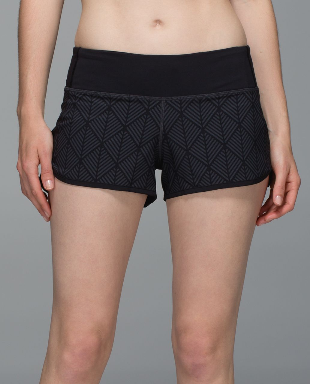 Lululemon Run:  Speed Short *4-way Stretch - Diamond Palm Deep Coal Black / Black
