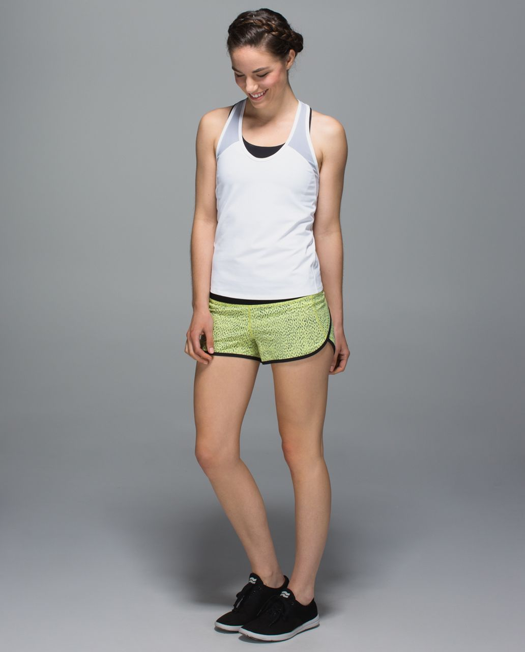 Lululemon Run:  Speed Short *4-way Stretch - Dottie Dash Clarity Yellow Black / Black
