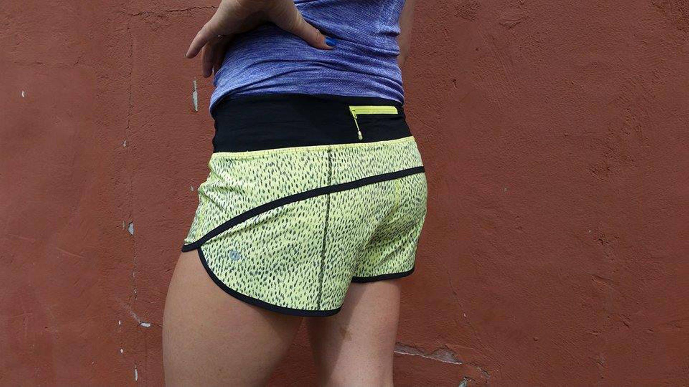 Lululemon Run:  Speed Short *4-way Stretch - Dottie Dash Clarity Yellow Black / Black