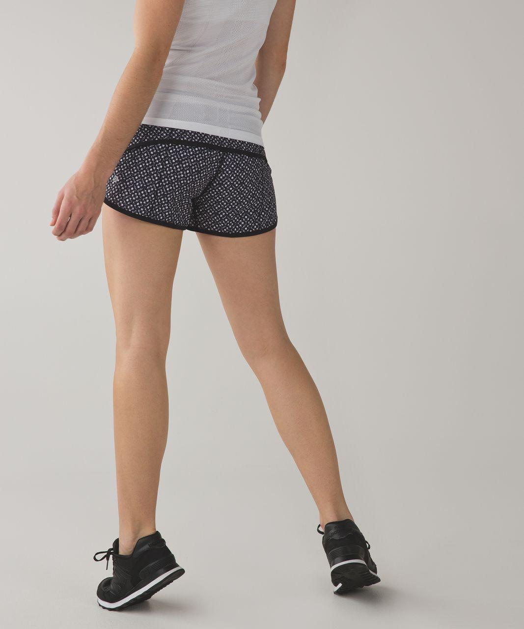 Lululemon Run:  Speed Short *4-way Stretch - Dottie Eyelet White Black / Black / Tonka Stripe Black White