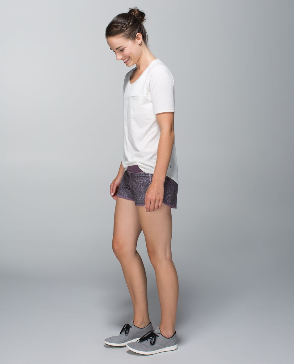 Lululemon Run:  Speed Short *4-way Stretch - Dottie Mum Deep Coal Mauvelous / Purple Fog