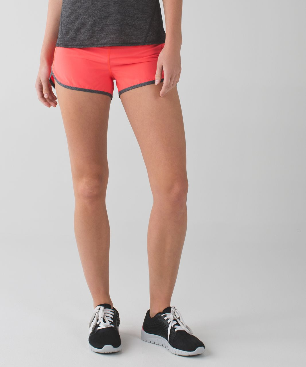 "Lululemon Speed Short *4-way Stretch 2.5"" - Electric Coral / Quiet Stripe Butter Pink Electric Coral / Heathered Texture Printed Greyt Deep Coal"