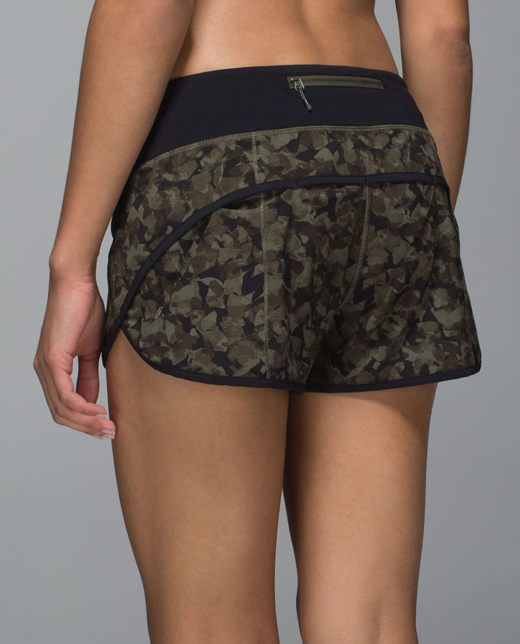 Lululemon Run:  Speed Short *4-way Stretch - Mystic Jungle Fatigue Green Black / Black