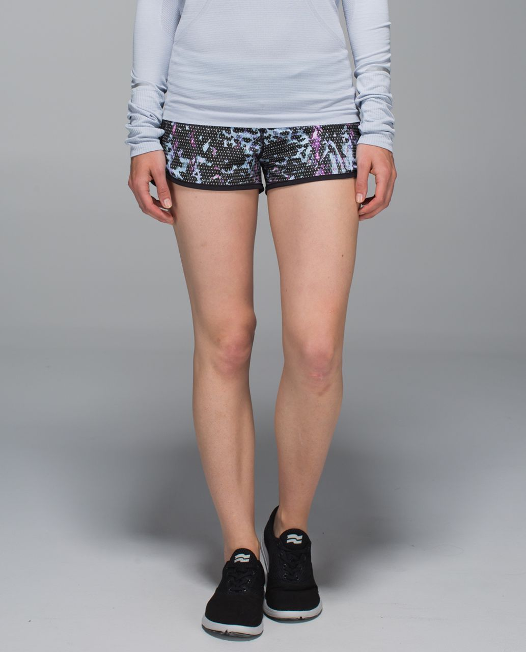 Lululemon Run:  Speed Short *4-way Stretch - Floral Sport Tranquil Blue Multi / Tranquil Blue / Black