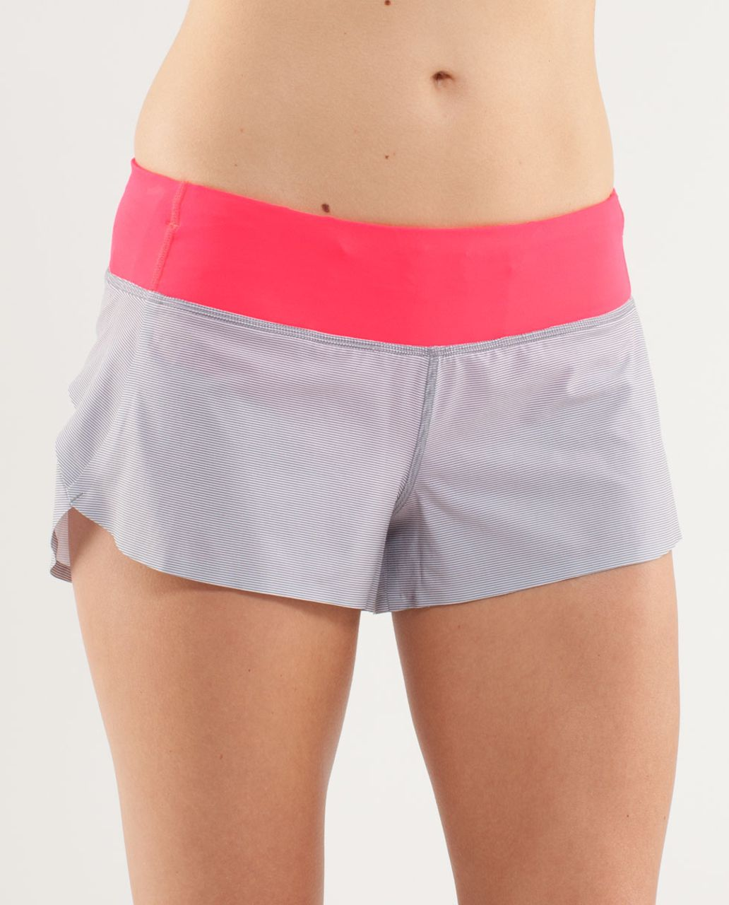 Lululemon Run:  Speed Short *Naked Seam - Wee Stripe Printed White Fossil /  Flash
