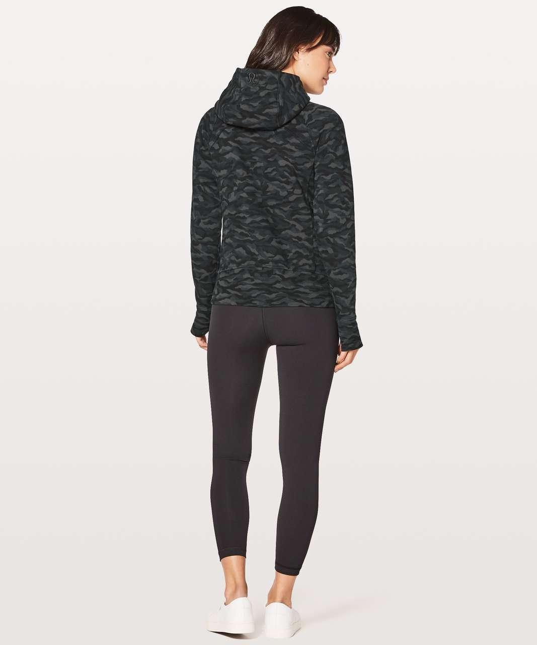Lululemon Scuba Hoodie Light Cotton Fleece - Sequoia Camo Print Deep Coal Black