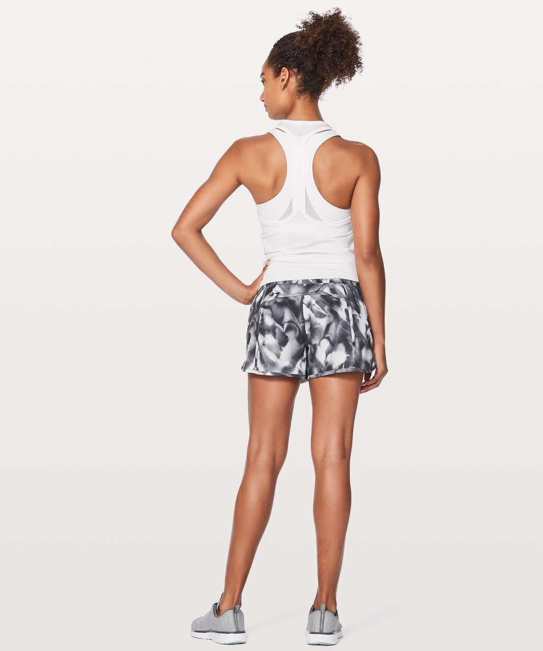 "Lululemon Tracker Short V *4"" - Mini Blush Blossom Alpine White Black / Black"