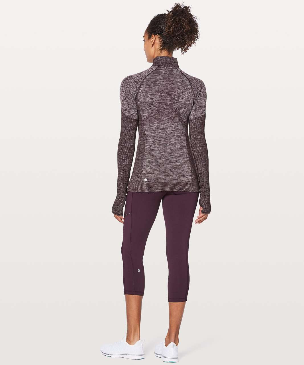 Lululemon Swiftly Wool 1/2 Zip - Black Cherry / White
