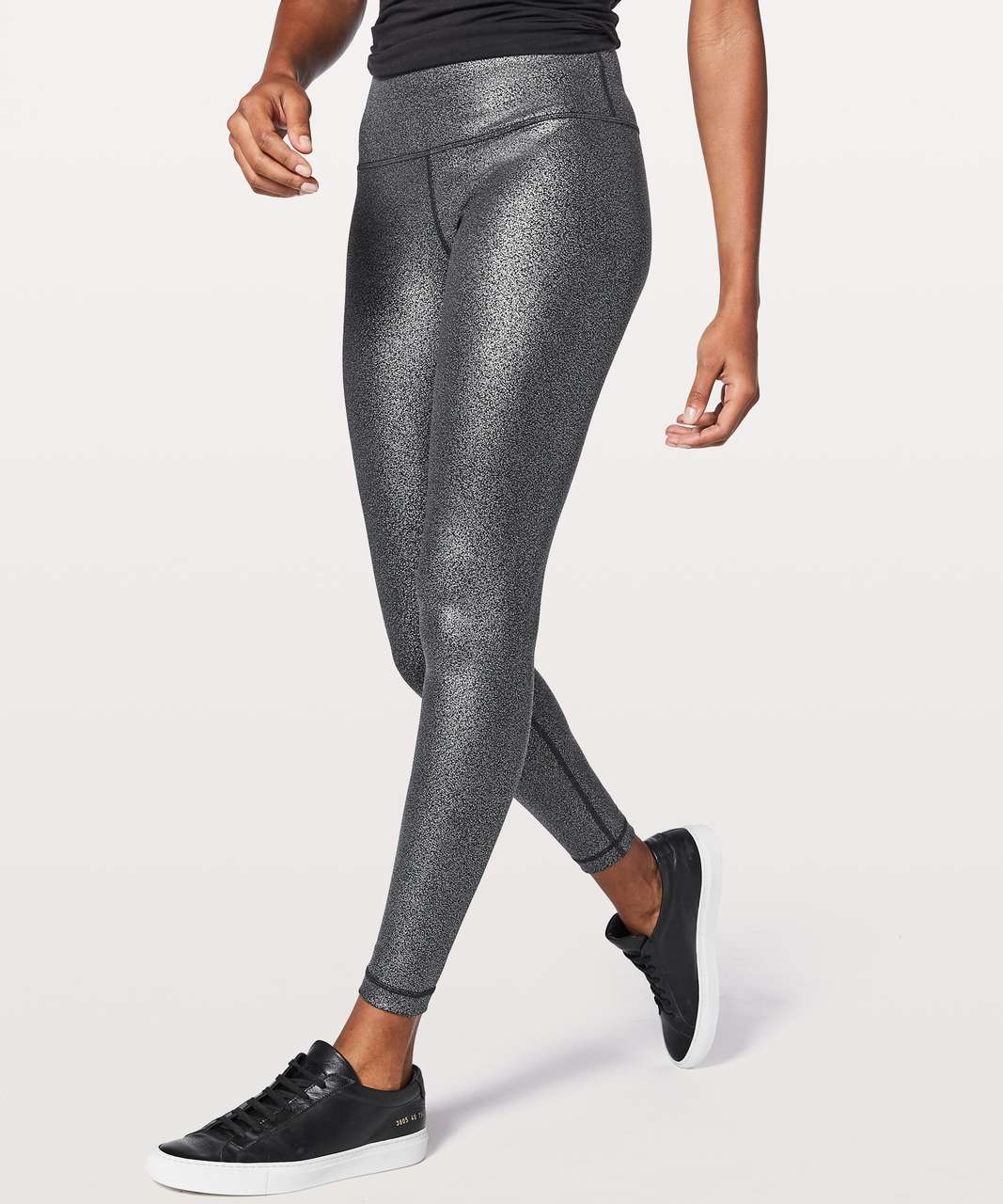 "Lululemon Wunder Under Hi-Rise Tight 28"" - Luminosity Foil Print Black Silver"
