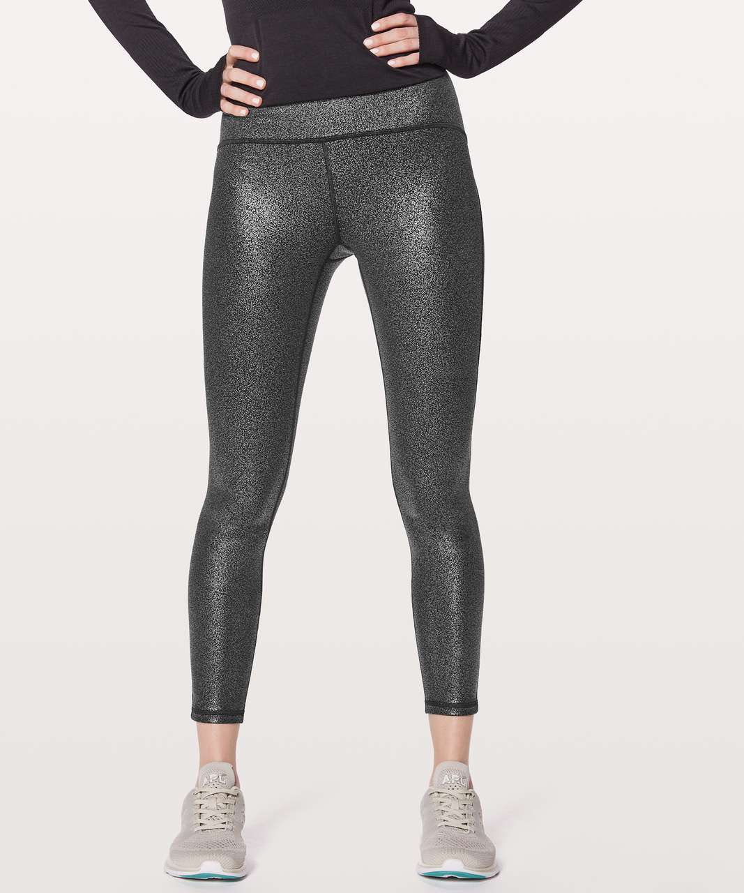 "Lululemon Train Times 7/8 Pant *25"" - Luminosity Foil Print Black Silver / Black"