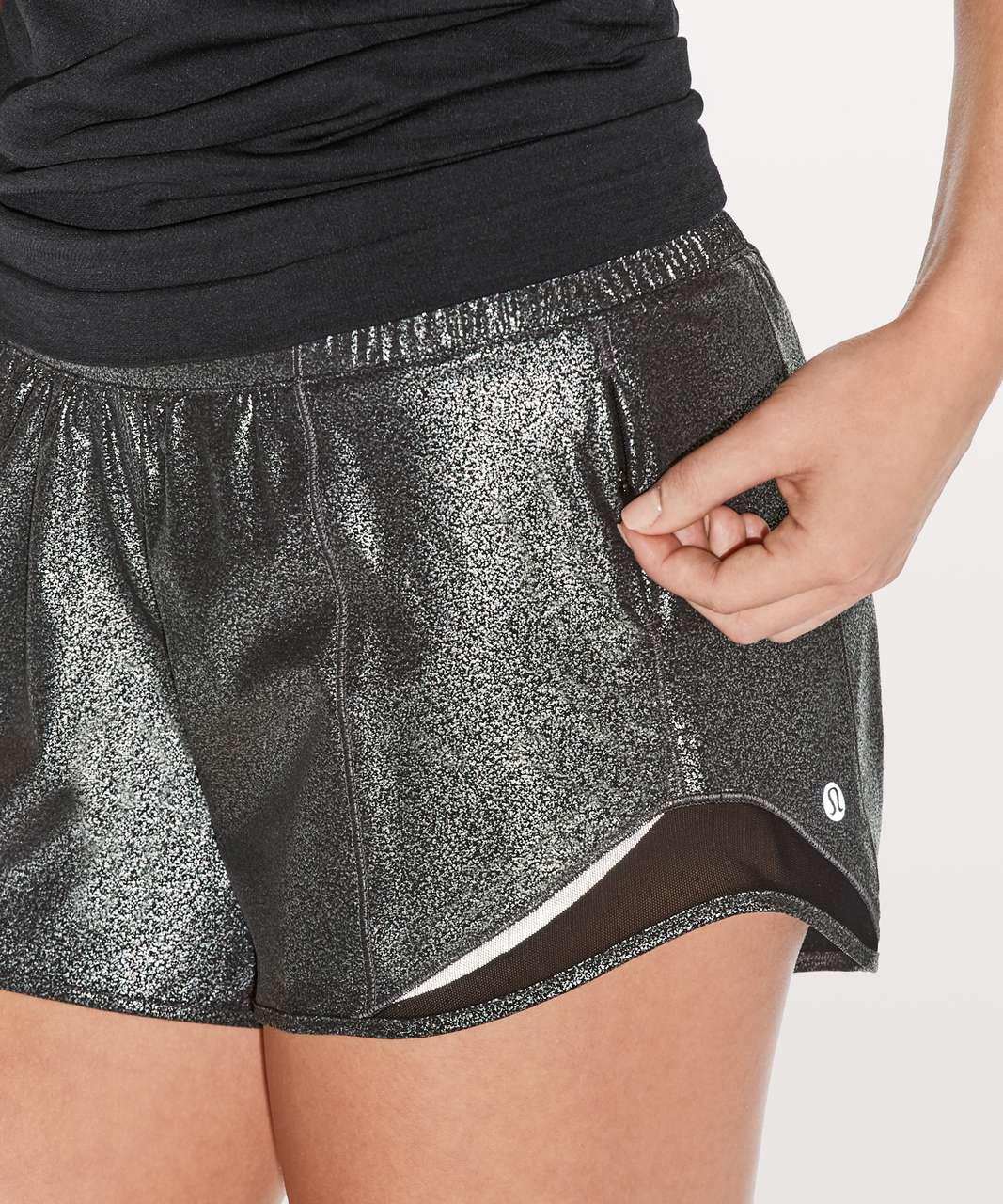 "Lululemon Hotty Hot Short II *Long 4"" - Luminosity Foil Print Black Silver / Black"