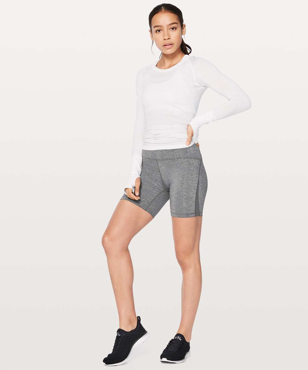 "Lululemon Train Times Short *6"" - Heathered Black"